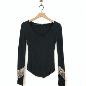 Free People Black Cuff Thermal Top